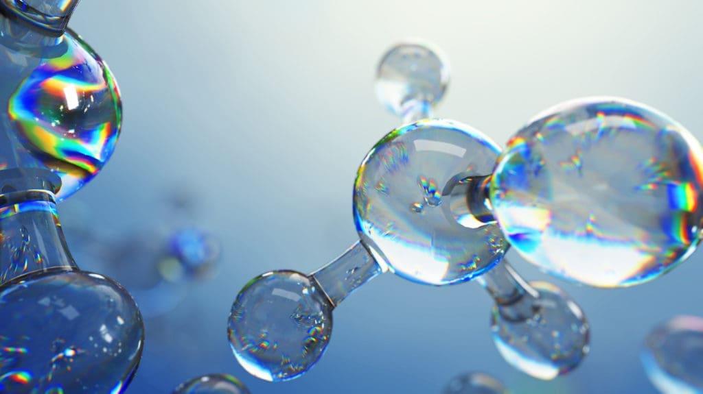 3d illustration of glass molecules. Atoms connection concept. Ab