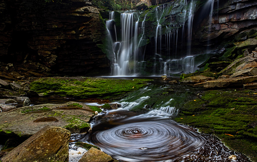 Waterfall and Whirlpool in Forest